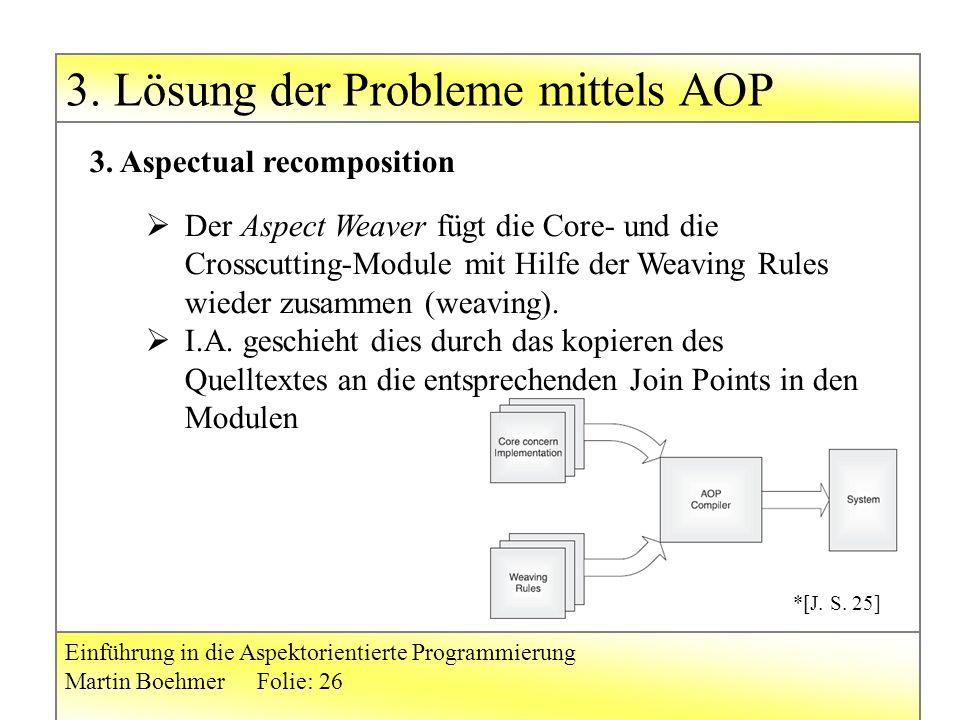 3. Lösung der Probleme mittels AOP Einführung in die Aspektorientierte Programmierung Martin BoehmerFolie: 26 3. Aspectual recomposition  Der Aspect