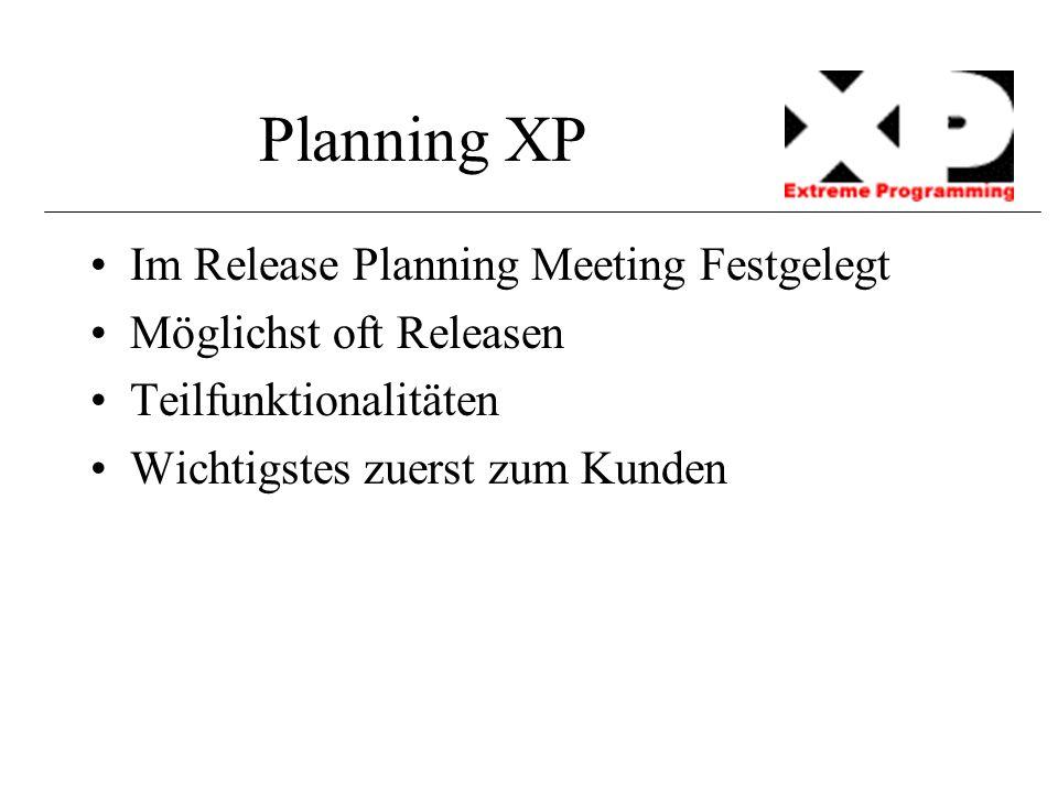 Planning XP Im Release Planning Meeting Festgelegt Möglichst oft Releasen Teilfunktionalitäten Wichtigstes zuerst zum Kunden
