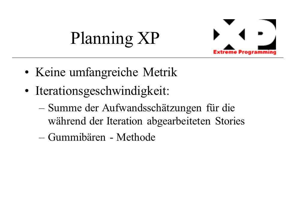 Planning XP Keine umfangreiche Metrik Iterationsgeschwindigkeit: –Summe der Aufwandsschätzungen für die während der Iteration abgearbeiteten Stories –