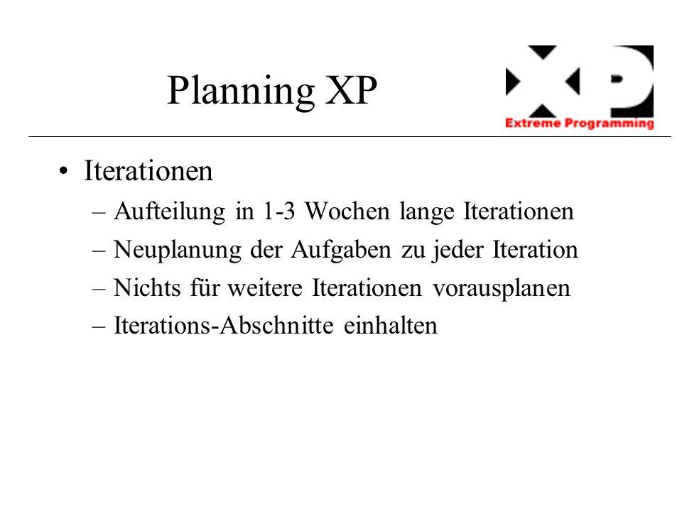 Planning XP Iterationen –Aufteilung in 1-3 Wochen lange Iterationen –Neuplanung der Aufgaben zu jeder Iteration –Nichts für weitere Iterationen voraus
