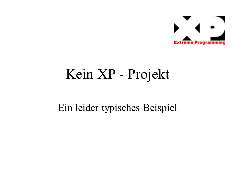 Kein XP - Projekt Ein leider typisches Beispiel