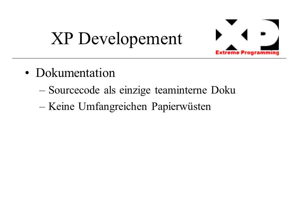 XP Developement Dokumentation –Sourcecode als einzige teaminterne Doku –Keine Umfangreichen Papierwüsten