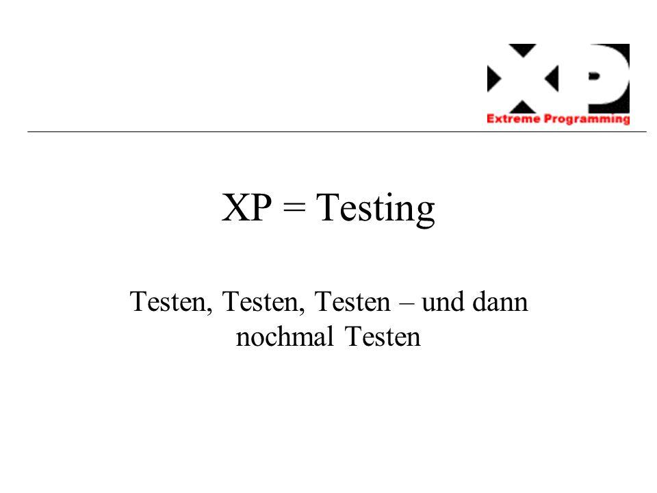 XP = Testing Testen, Testen, Testen – und dann nochmal Testen