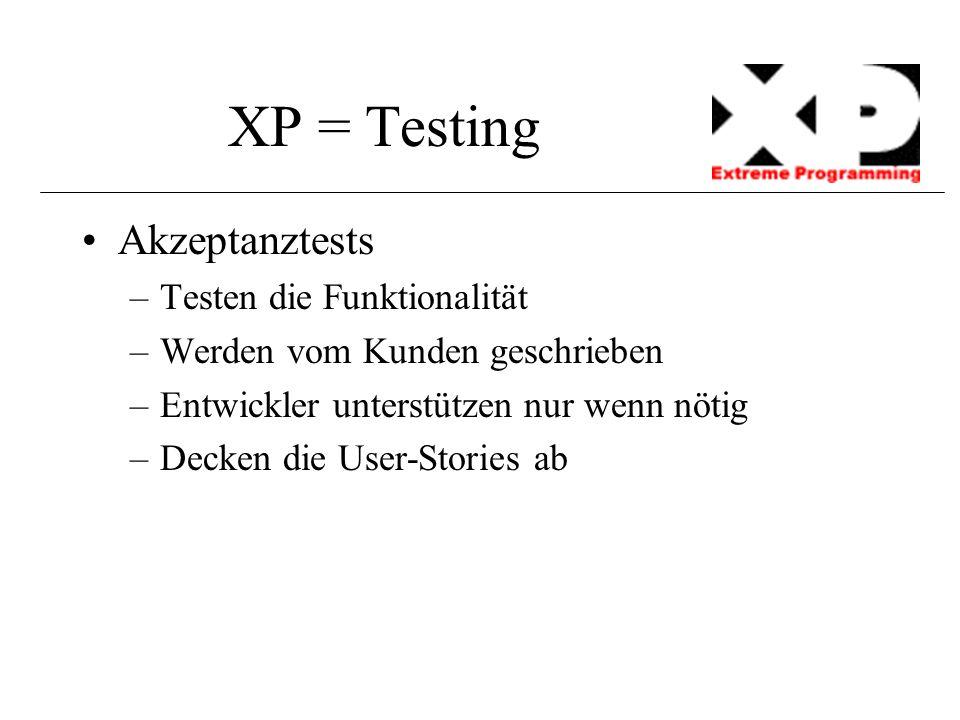 XP = Testing Akzeptanztests –Testen die Funktionalität –Werden vom Kunden geschrieben –Entwickler unterstützen nur wenn nötig –Decken die User-Stories