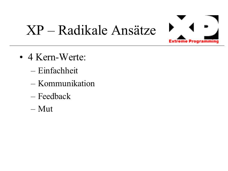 XP – Radikale Ansätze 4 Kern-Werte: –Einfachheit –Kommunikation –Feedback –Mut