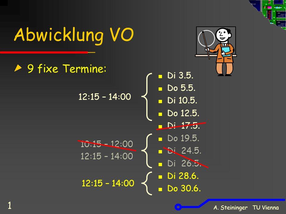 Abwicklung VO 9 fixe Termine: Di 3.5.Do 5.5. Di 10.5.