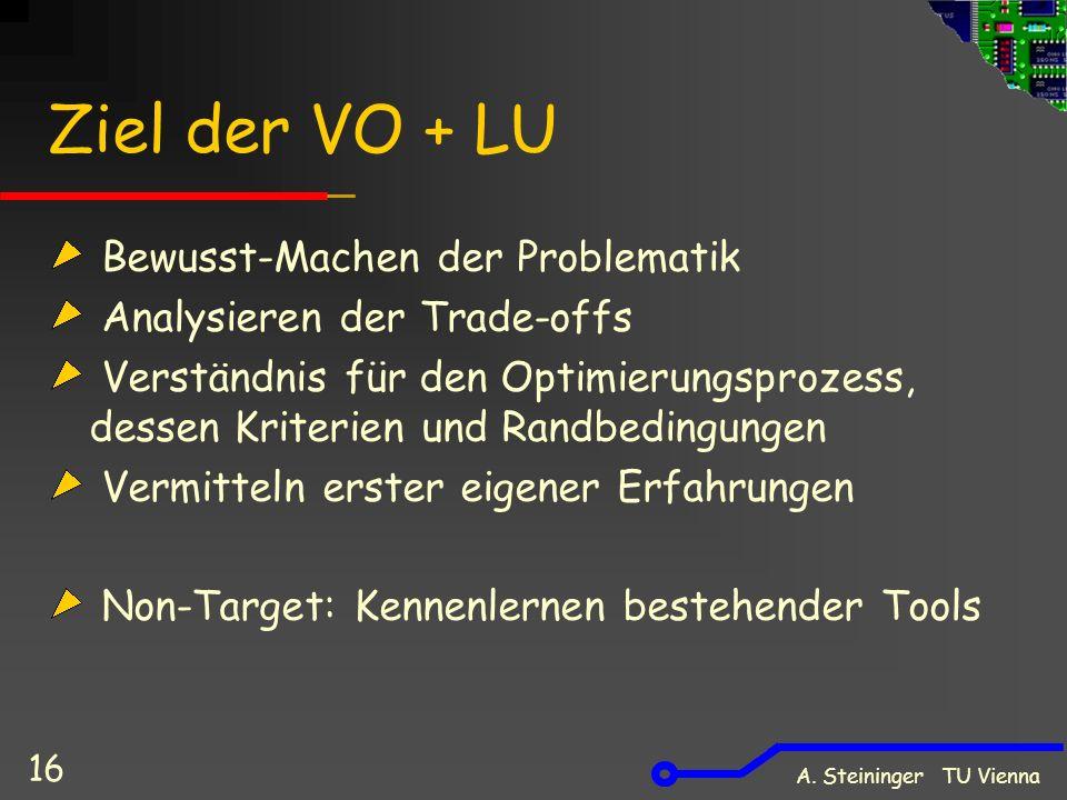 A. Steininger TU Vienna 16 Ziel der VO + LU Bewusst-Machen der Problematik Analysieren der Trade-offs Verständnis für den Optimierungsprozess, dessen