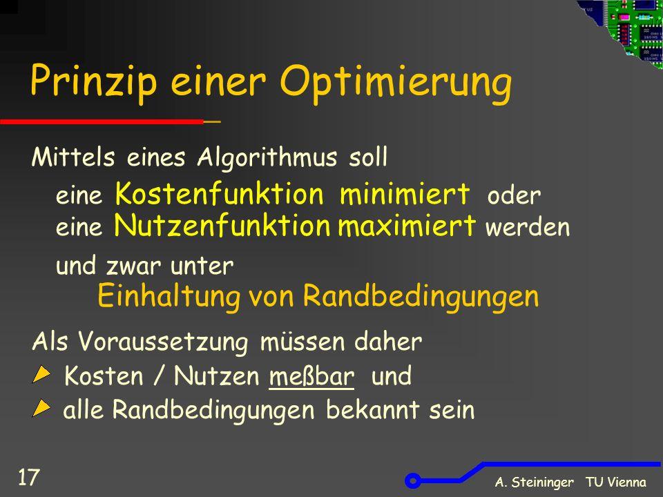 A. Steininger TU Vienna 17 Prinzip einer Optimierung Mittels eines Algorithmus soll eine Kostenfunktion minimiert oder eine Nutzenfunktion maximiert w