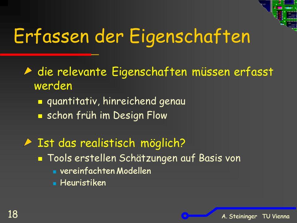 A. Steininger TU Vienna 18 Erfassen der Eigenschaften die relevante Eigenschaften müssen erfasst werden quantitativ, hinreichend genau schon früh im D
