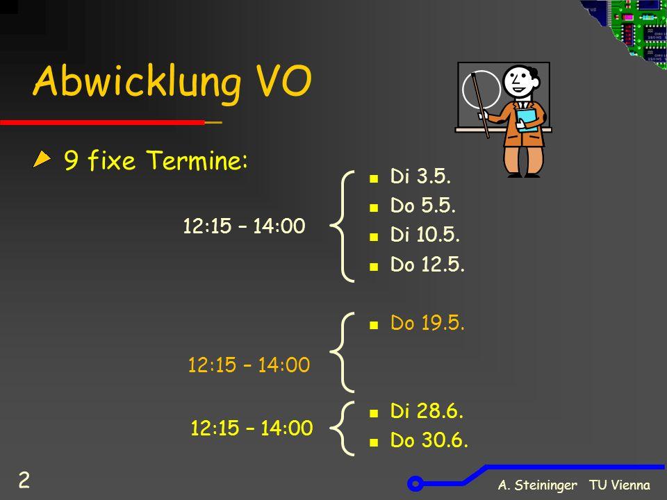 Abwicklung VO 9 fixe Termine: Di 3.5. Do 5.5. Di 10.5.