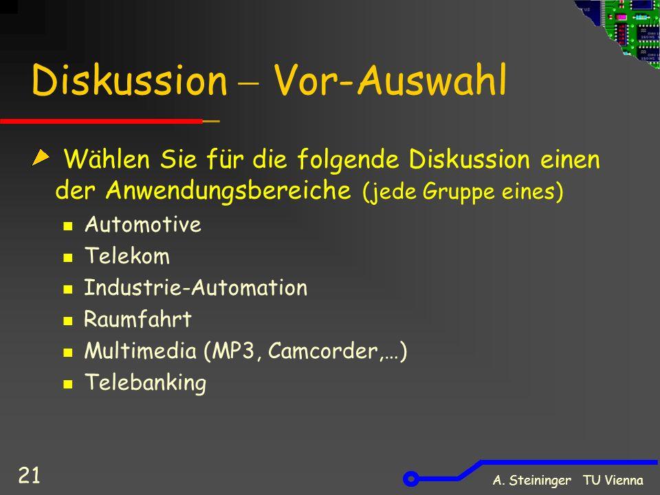 A. Steininger TU Vienna 21 Diskussion  Vor-Auswahl Wählen Sie für die folgende Diskussion einen der Anwendungsbereiche (jede Gruppe eines) Automotive
