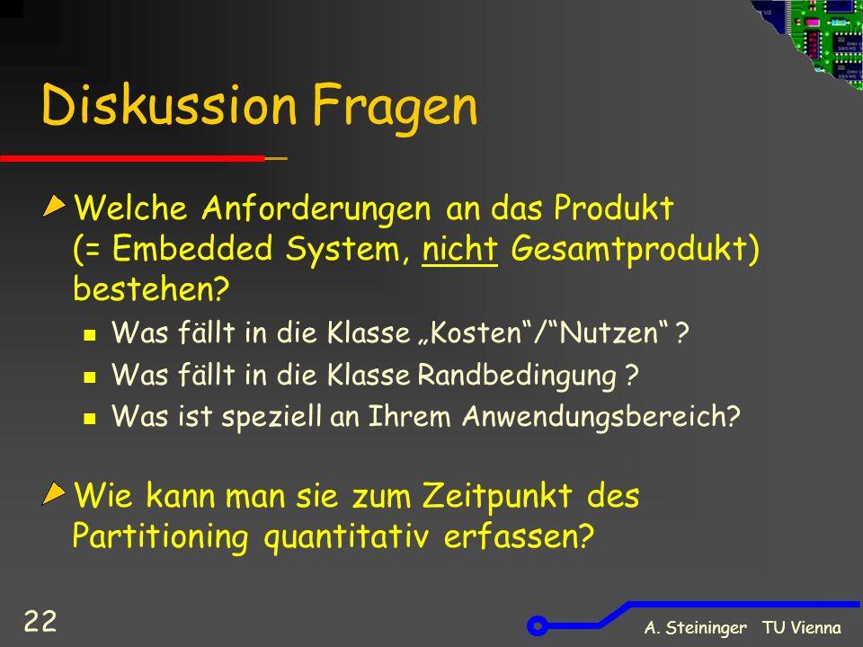 A. Steininger TU Vienna 22 Diskussion Fragen Welche Anforderungen an das Produkt (= Embedded System, nicht Gesamtprodukt) bestehen? Was fällt in die K