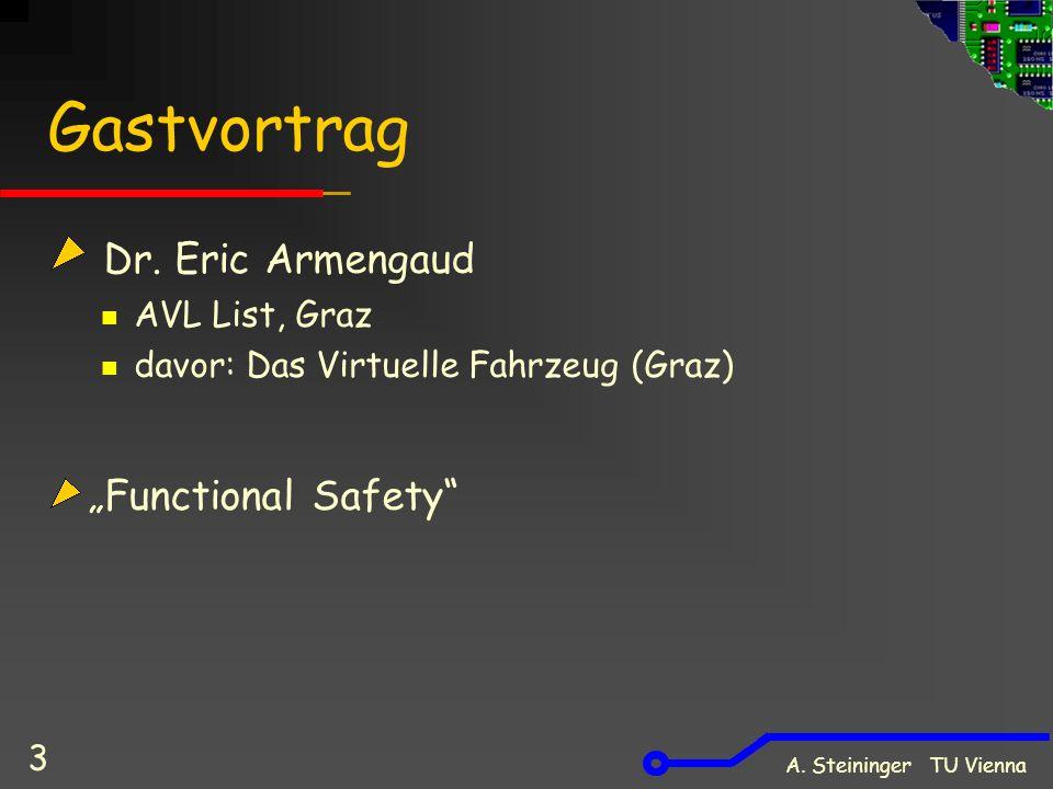 A.Steininger TU Vienna 4 Vorlesung Inhalte: Kostenfaktoren Optimierung Hardware vs.