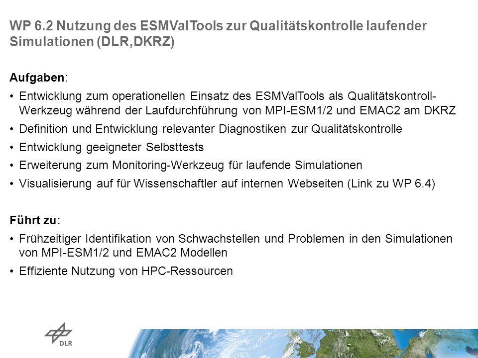 WP 6.2 Nutzung des ESMValTools zur Qualitätskontrolle laufender Simulationen (DLR,DKRZ) Aufgaben: Entwicklung zum operationellen Einsatz des ESMValTools als Qualitätskontroll- Werkzeug während der Laufdurchführung von MPI-ESM1/2 und EMAC2 am DKRZ Definition und Entwicklung relevanter Diagnostiken zur Qualitätskontrolle Entwicklung geeigneter Selbsttests Erweiterung zum Monitoring-Werkzeug für laufende Simulationen Visualisierung auf für Wissenschaftler auf internen Webseiten (Link zu WP 6.4) Führt zu: Frühzeitiger Identifikation von Schwachstellen und Problemen in den Simulationen von MPI-ESM1/2 und EMAC2 Modellen Effiziente Nutzung von HPC-Ressourcen