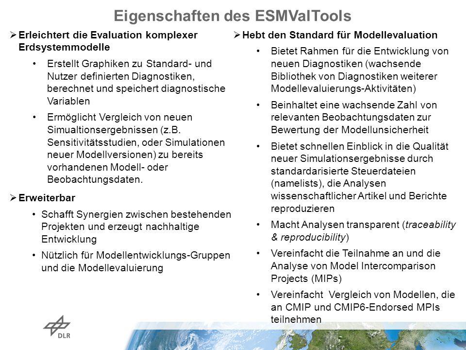Eigenschaften des ESMValTools  Erleichtert die Evaluation komplexer Erdsystemmodelle Erstellt Graphiken zu Standard- und Nutzer definierten Diagnostiken, berechnet und speichert diagnostische Variablen Ermöglicht Vergleich von neuen Simualtionsergebnissen (z.B.