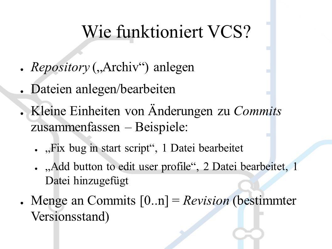 Start ● Einmalig pro Rechner: ● `git config --global user.name Daniel Böhmer ` ● `git config --global user.email boehmer@tropos.de ` ● Pro Projekt: ● Neues Repo anlegen: `git init` ODER ● Vorhandenes Repo klonen: `git clone ssh://mein- server.tropos.de/var/git/projekt.git`