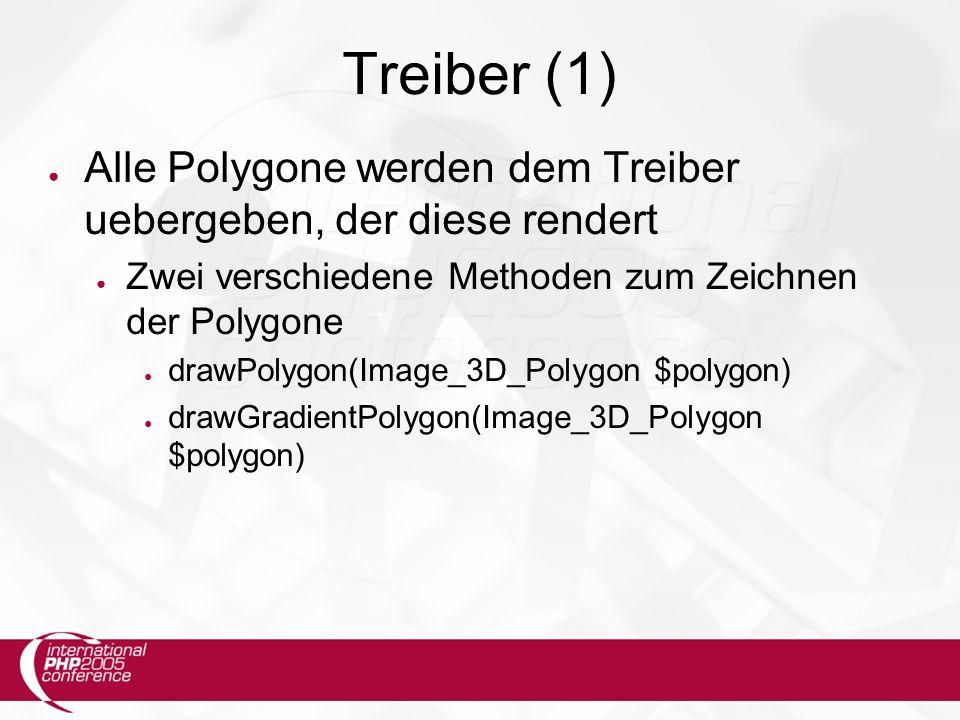 Treiber (1) ● Alle Polygone werden dem Treiber uebergeben, der diese rendert ● Zwei verschiedene Methoden zum Zeichnen der Polygone ● drawPolygon(Image_3D_Polygon $polygon) ● drawGradientPolygon(Image_3D_Polygon $polygon)