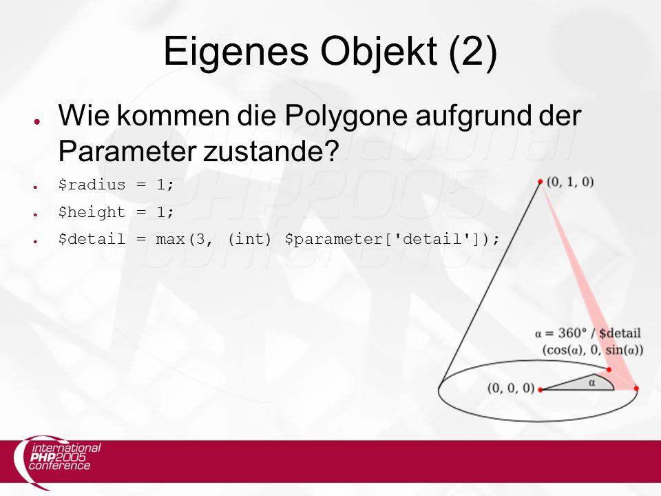 Eigenes Objekt (2) ● Wie kommen die Polygone aufgrund der Parameter zustande.