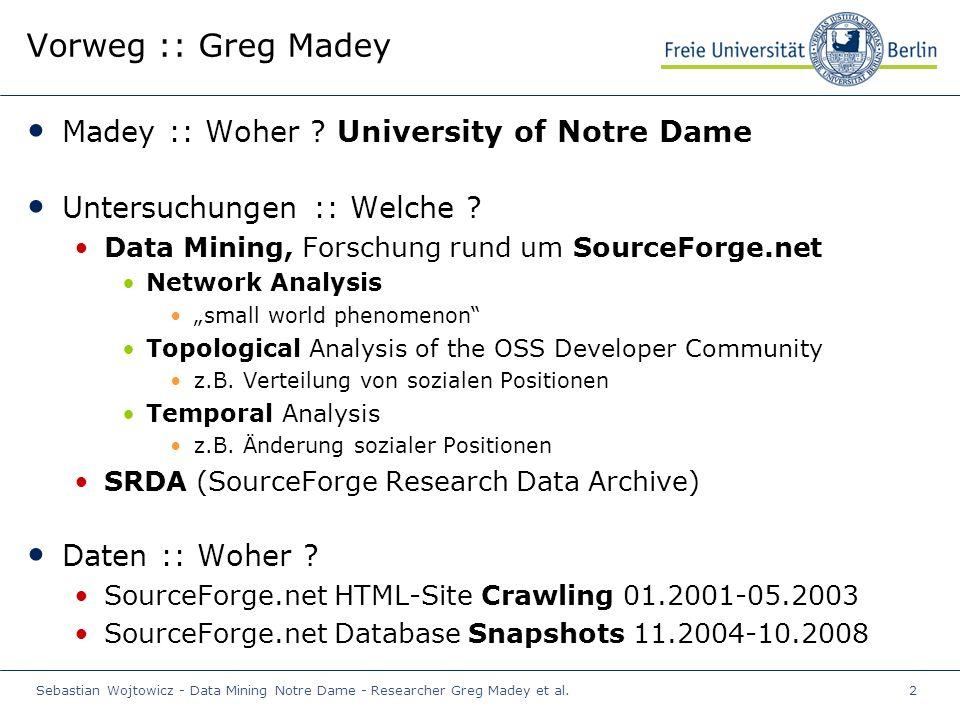 Sebastian Wojtowicz - Data Mining Notre Dame - Researcher Greg Madey et al.2 Vorweg :: Greg Madey Madey :: Woher .