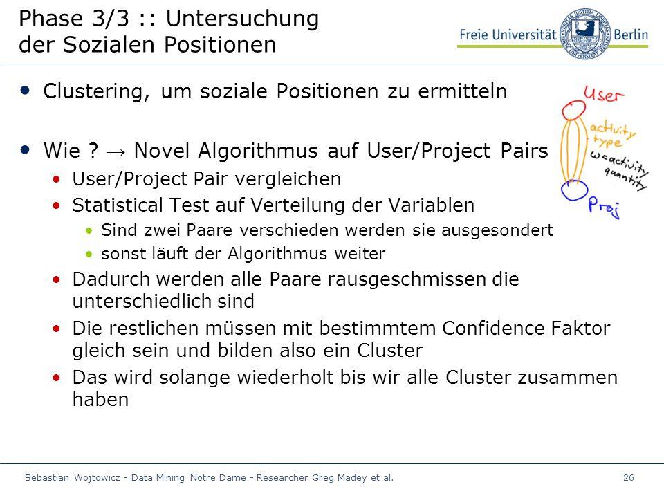 Sebastian Wojtowicz - Data Mining Notre Dame - Researcher Greg Madey et al.26 Phase 3/3 :: Untersuchung der Sozialen Positionen Clustering, um soziale Positionen zu ermitteln Wie .