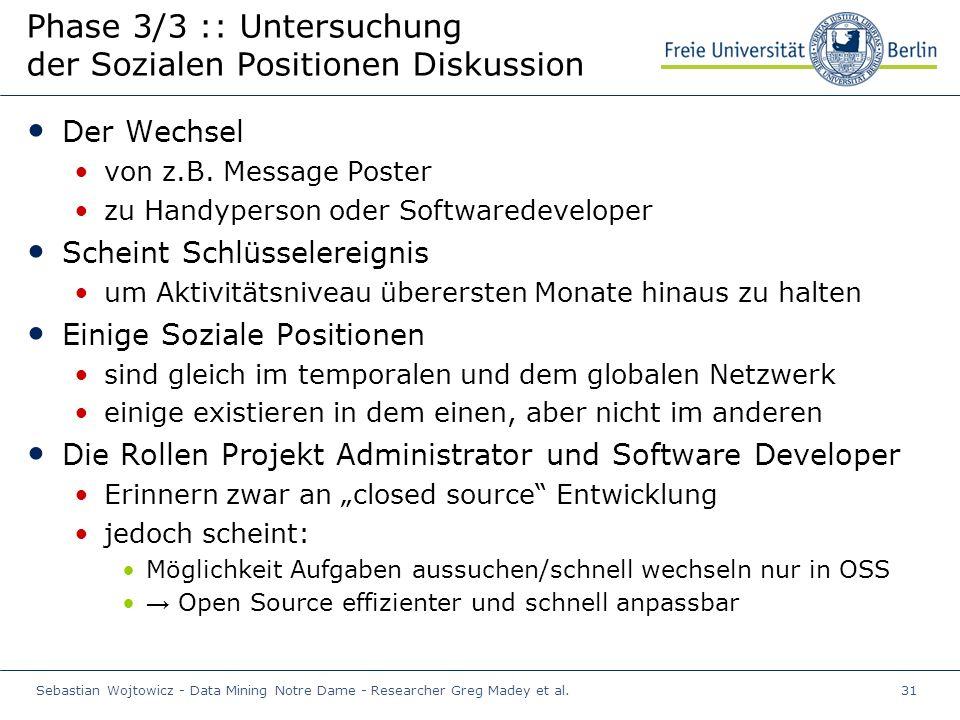 Sebastian Wojtowicz - Data Mining Notre Dame - Researcher Greg Madey et al.31 Phase 3/3 :: Untersuchung der Sozialen Positionen Diskussion Der Wechsel von z.B.