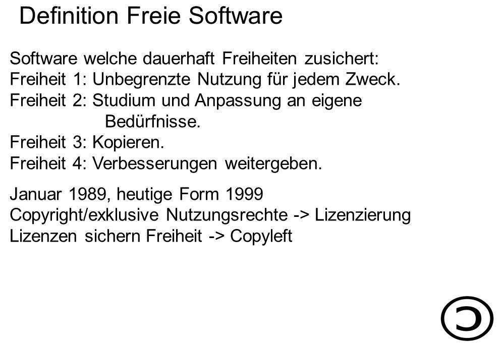 Software welche dauerhaft Freiheiten zusichert: Freiheit 1: Unbegrenzte Nutzung für jedem Zweck.