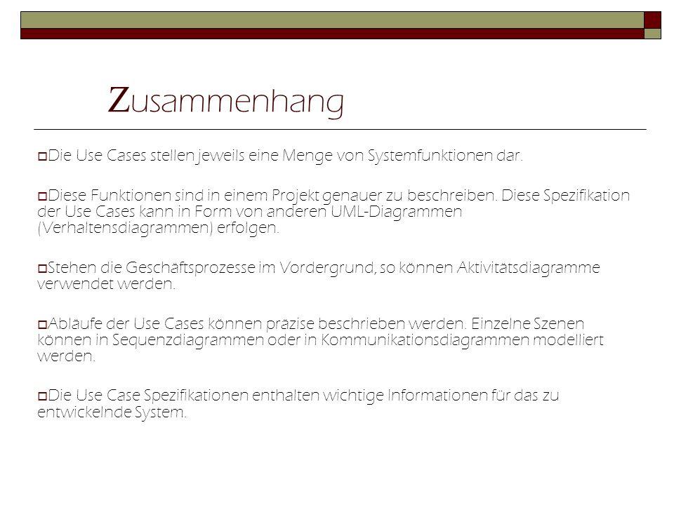 Z usammenhang  Die Use Cases stellen jeweils eine Menge von Systemfunktionen dar.