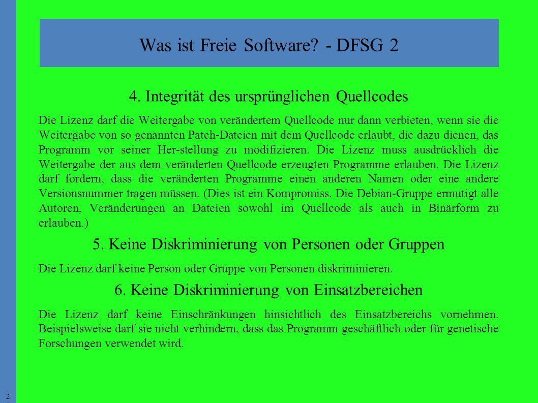 2121 Was ist Freie Software. - DFSG 2 4.