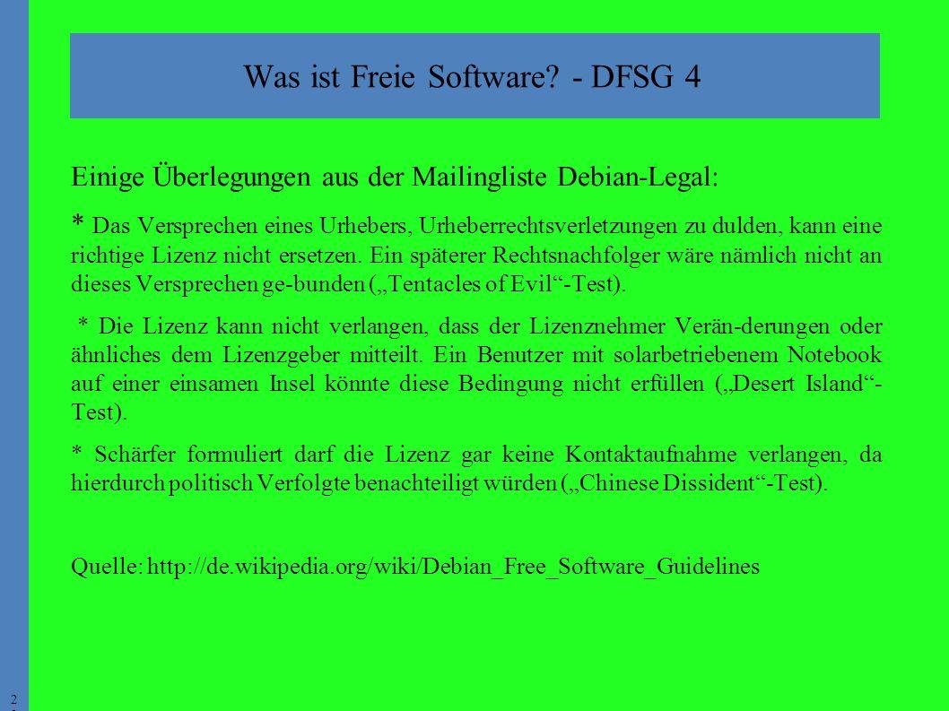 2323 Einige Überlegungen aus der Mailingliste Debian-Legal: * Das Versprechen eines Urhebers, Urheberrechtsverletzungen zu dulden, kann eine richtige Lizenz nicht ersetzen.