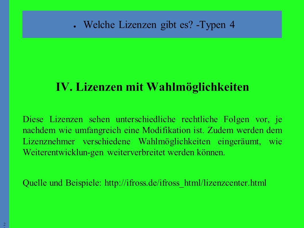 2828 ● Welche Lizenzen gibt es. -Typen 4 IV.