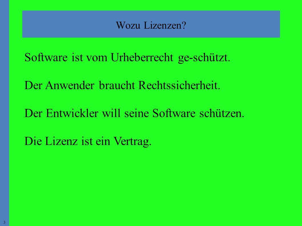 3 Software ist vom Urheberrecht ge-schützt. Der Anwender braucht Rechtssicherheit.