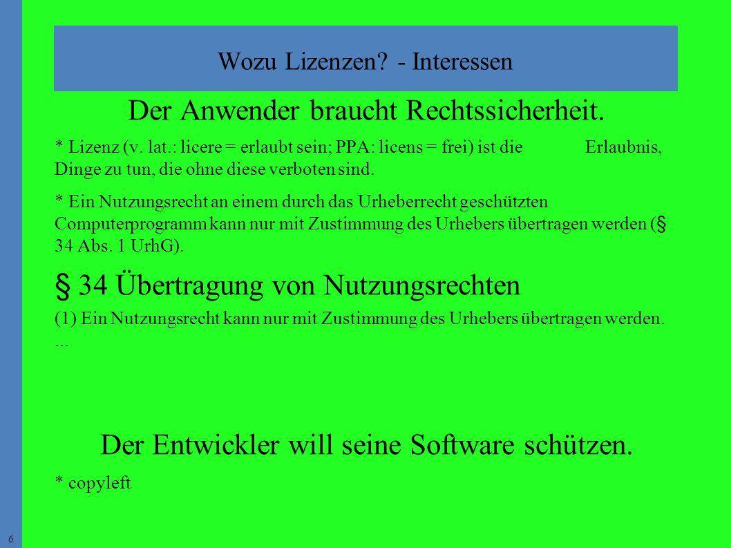 6 Wozu Lizenzen. - Interessen Der Anwender braucht Rechtssicherheit.