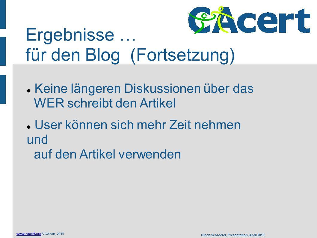 www.cacert.orgwww.cacert.org © CAcert, 2010 Ulrich Schroeter, Presentation, April 2010 Ergebnisse … für den Blog (Fortsetzung) Keine längeren Diskussi