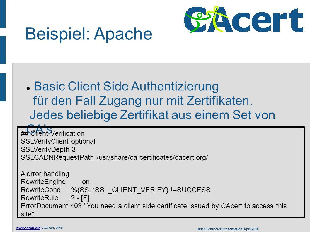 www.cacert.orgwww.cacert.org © CAcert, 2010 Ulrich Schroeter, Presentation, April 2010 Beispiel: Apache Basic Client Side Authentizierung für den Fall