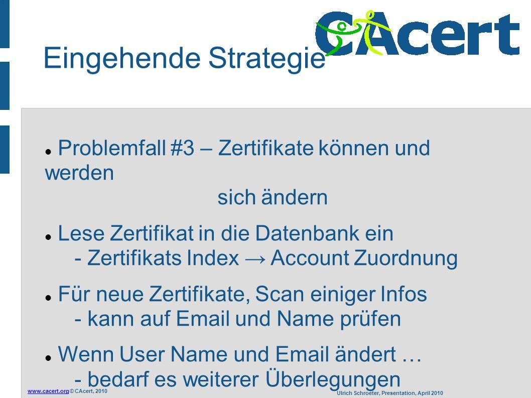 www.cacert.orgwww.cacert.org © CAcert, 2010 Ulrich Schroeter, Presentation, April 2010 Eingehende Strategie Problemfall #3 – Zertifikate können und we
