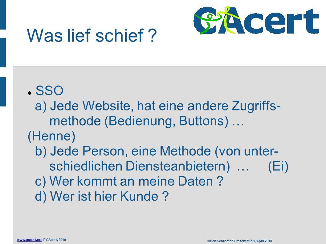 www.cacert.orgwww.cacert.org © CAcert, 2010 Ulrich Schroeter, Presentation, April 2010 Einsatz von Computern .