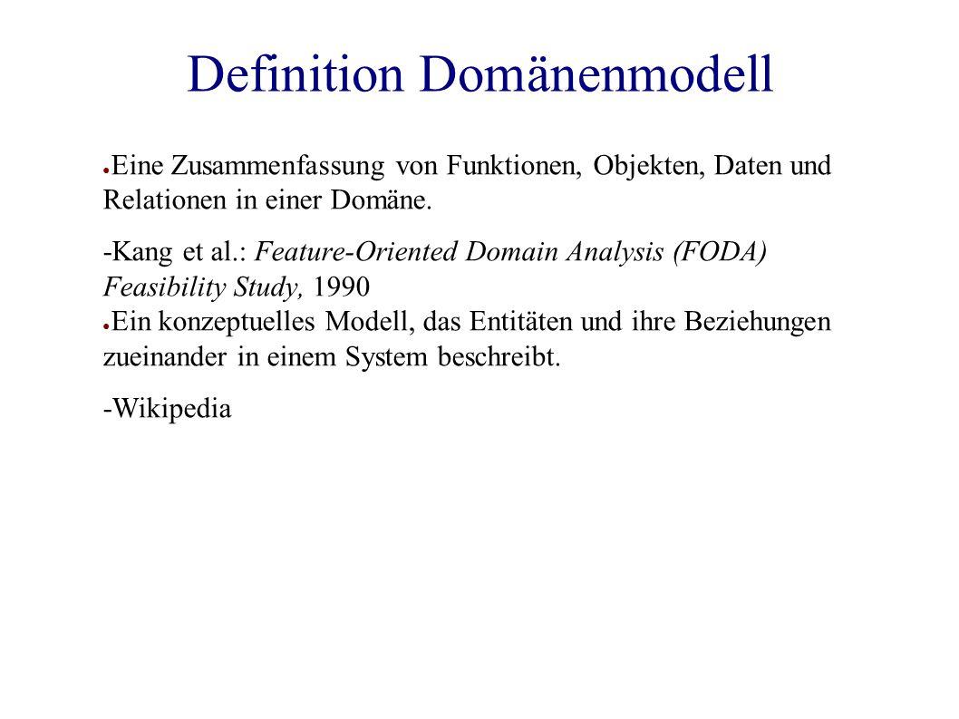 Definition Domänenmodell ● Eine Zusammenfassung von Funktionen, Objekten, Daten und Relationen in einer Domäne.