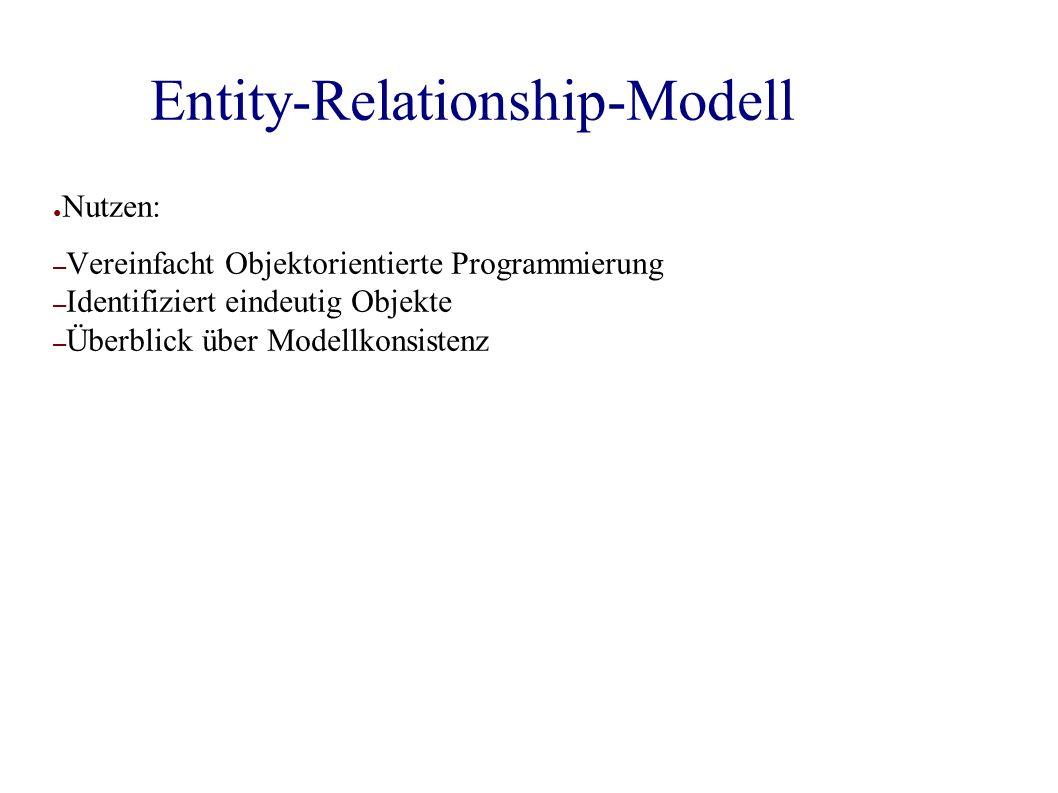 Entity-Relationship-Modell ● Nutzen: – Vereinfacht Objektorientierte Programmierung – Identifiziert eindeutig Objekte – Überblick über Modellkonsistenz