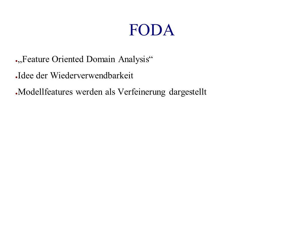 """FODA ● """"Feature Oriented Domain Analysis ● Idee der Wiederverwendbarkeit ● Modellfeatures werden als Verfeinerung dargestellt"""
