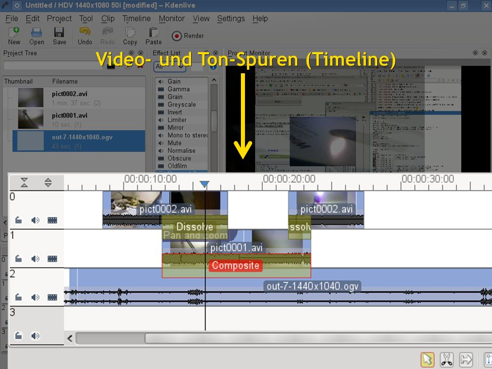 1616 Video- und Ton-Spuren (Timeline)