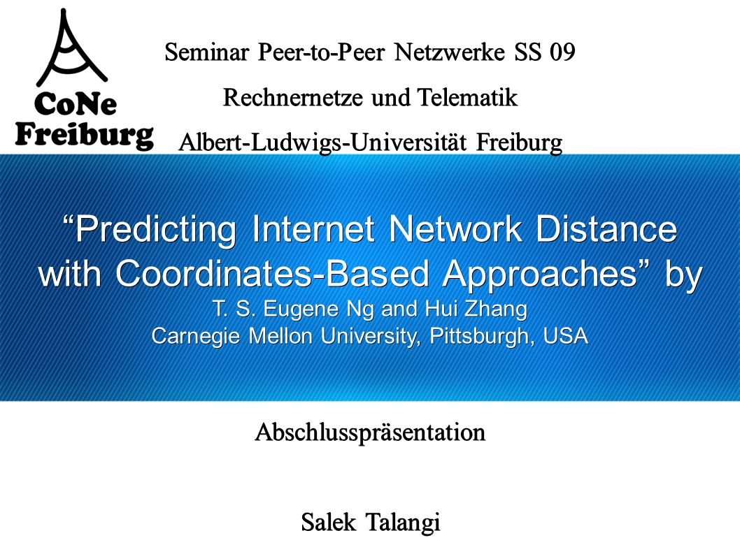 Predicting Internet Network Distance with Coordinates-Based Approaches by T.