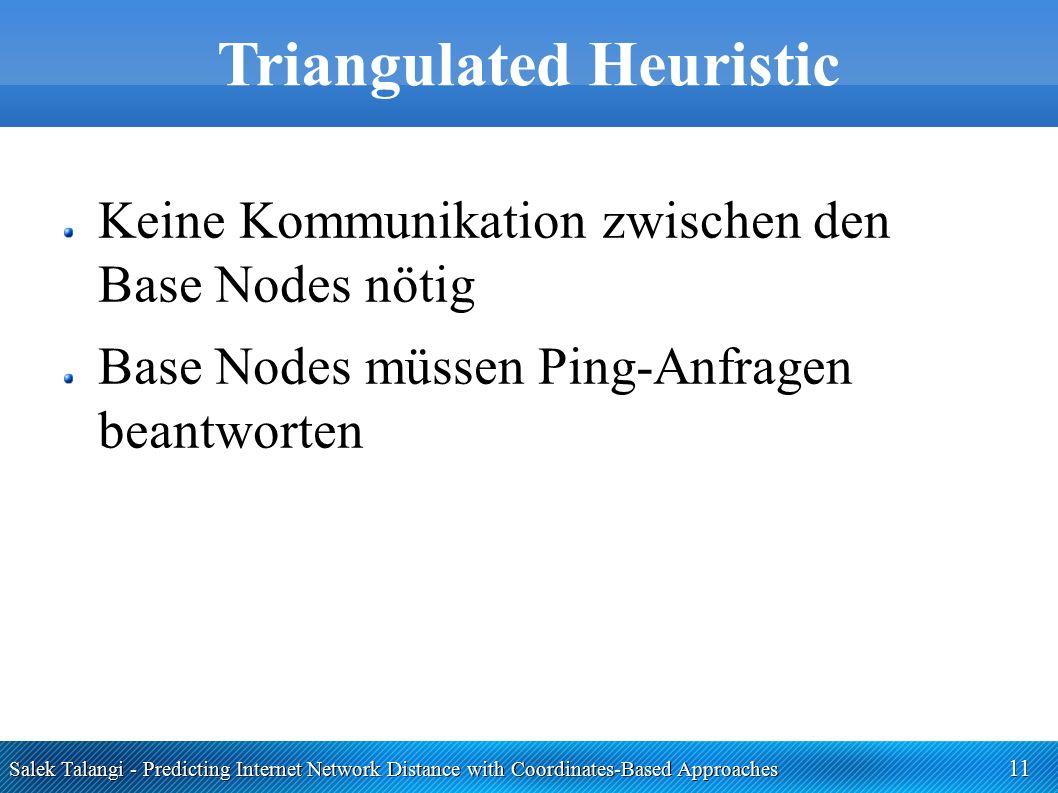 Salek Talangi - Predicting Internet Network Distance with Coordinates-Based Approaches 11 Triangulated Heuristic Keine Kommunikation zwischen den Base