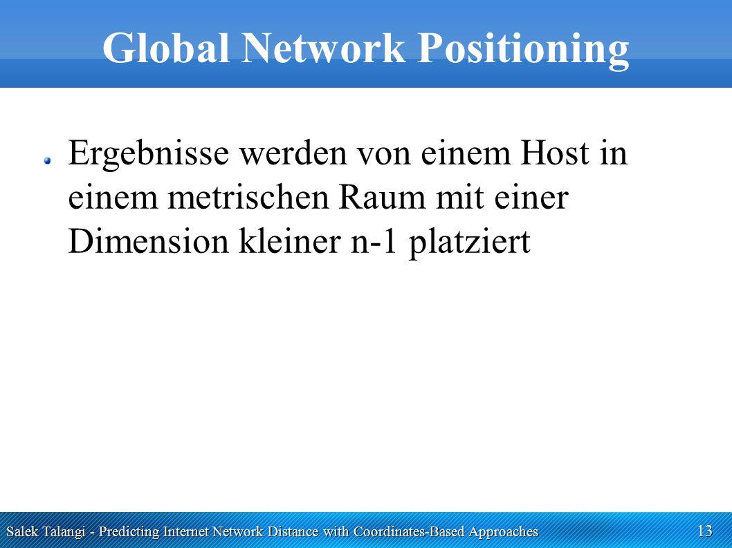 Salek Talangi - Predicting Internet Network Distance with Coordinates-Based Approaches 13 Global Network Positioning Ergebnisse werden von einem Host