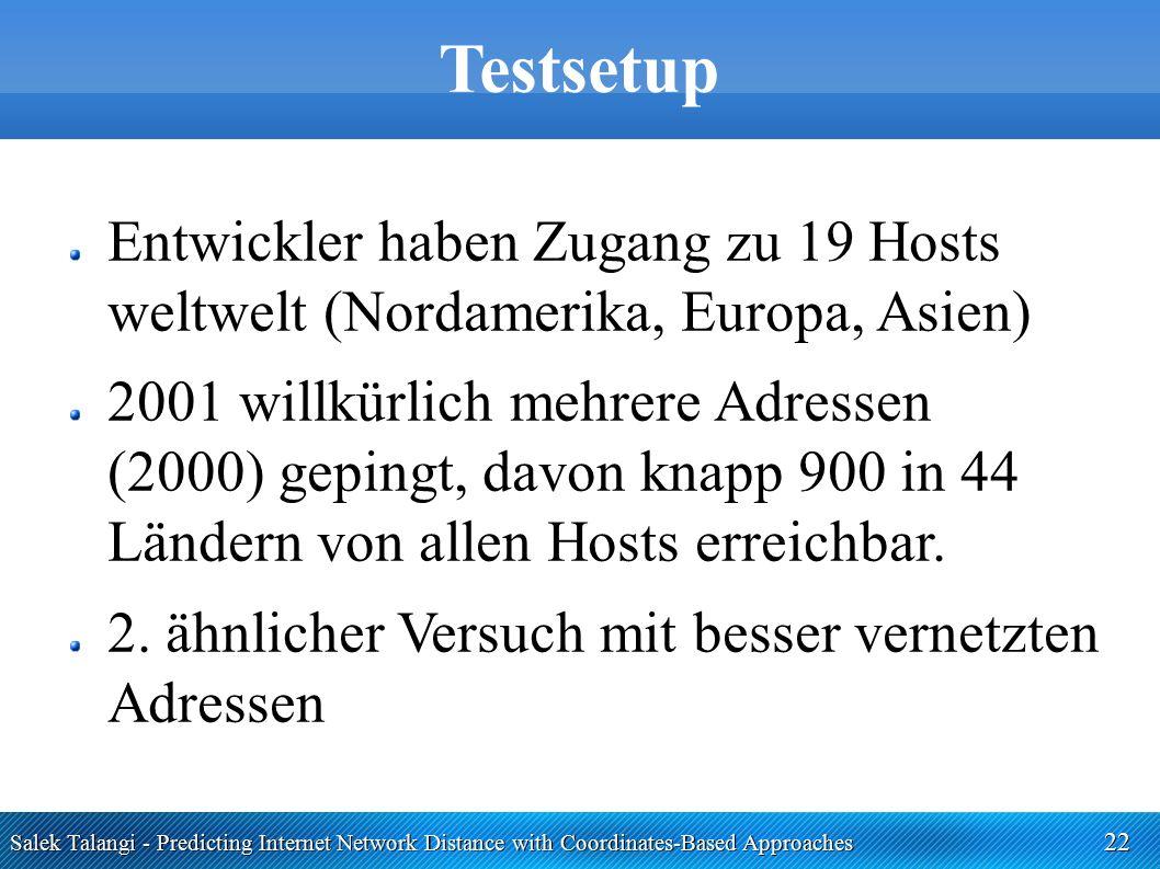 Salek Talangi - Predicting Internet Network Distance with Coordinates-Based Approaches 22 Testsetup Entwickler haben Zugang zu 19 Hosts weltwelt (Nord