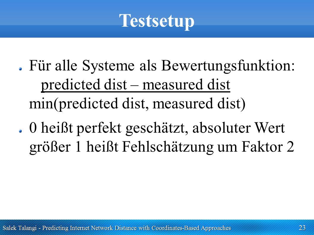 Salek Talangi - Predicting Internet Network Distance with Coordinates-Based Approaches 23 Testsetup Für alle Systeme als Bewertungsfunktion: predicted