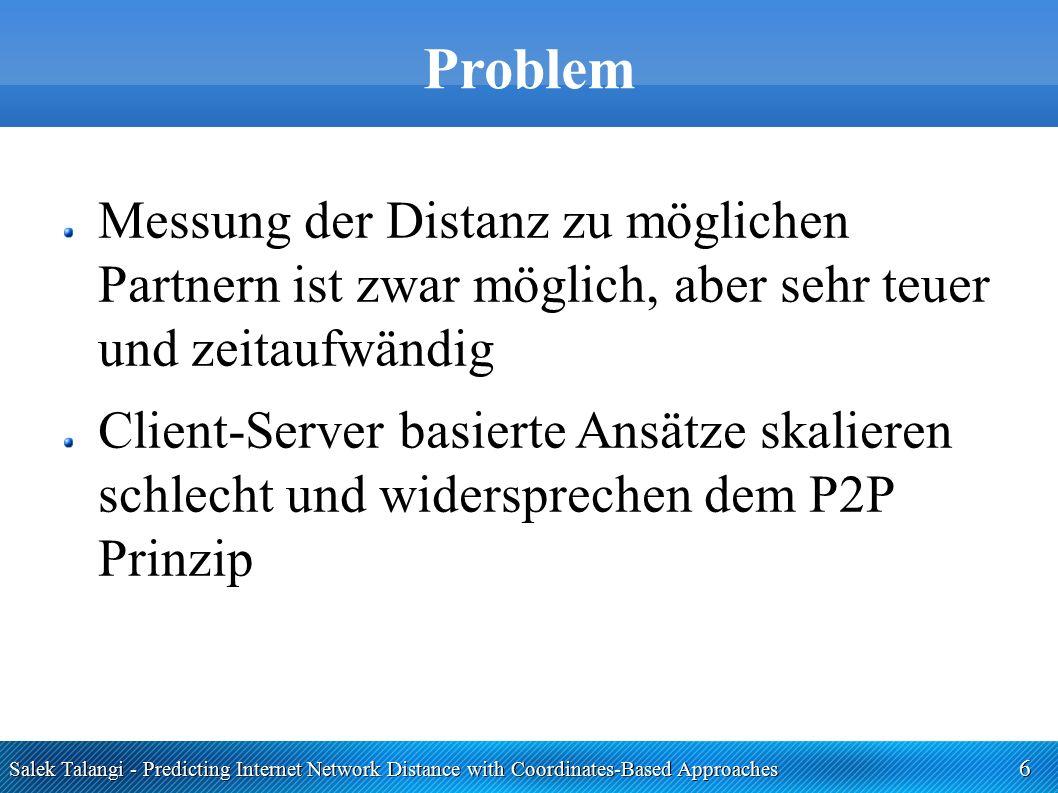 Salek Talangi - Predicting Internet Network Distance with Coordinates-Based Approaches 6 Problem Messung der Distanz zu möglichen Partnern ist zwar mö