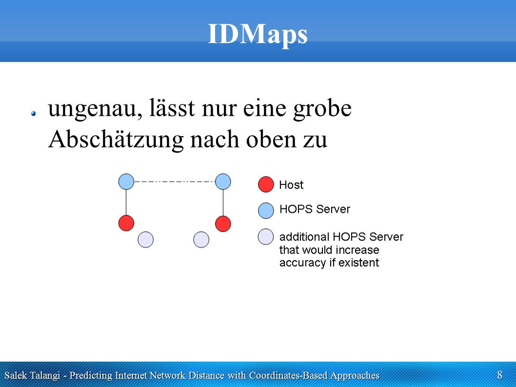 Salek Talangi - Predicting Internet Network Distance with Coordinates-Based Approaches 19 Einschub: Minimierung Simplex Downhill Verfahren iterativ (300 Mal / 30 Mal) grob: in jedem Schritt wird ein Punkt verändert Verbesserung: Punkt behalten, anderen verwerfen Verschlechterung: Anderen probieren