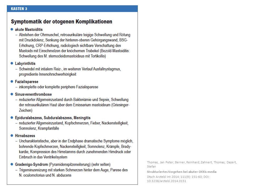 Thomas, Jan Peter; Berner, Reinhard; Zahnert, Thomas; Dazert, Stefan Strukturiertes Vorgehen bei akuter Otitis media Dtsch Arztebl Int 2014; 111(9): 151-60; DOI: 10.3238/arztebl.2014.0151