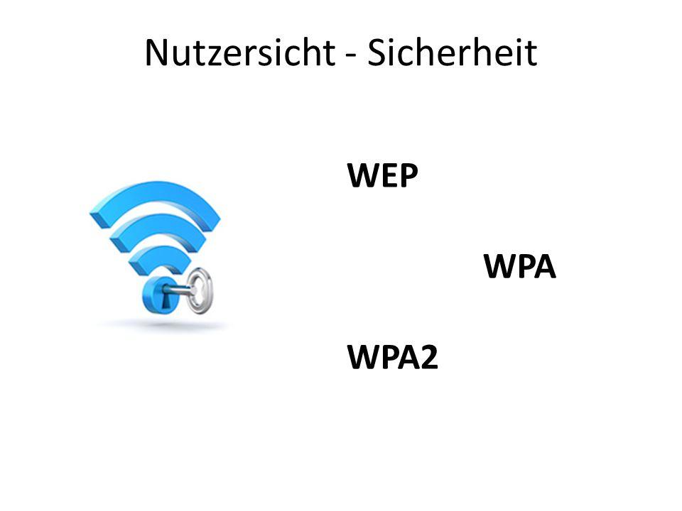 Nutzersicht - Sicherheit WEP WPA WPA2