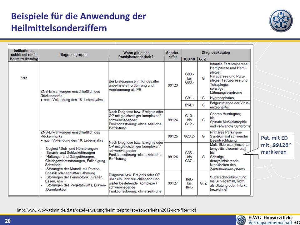 20 Beispiele für die Anwendung der Heilmittelsonderziffern http://www.kvbw-admin.de/data/dateiverwaltung/heilmittelpraxisbesonderheiten2012-sort-filter.pdf Pat.